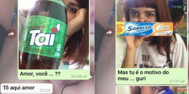FOTOS: Garota se declara para namorado com itens de mercado e bomba nas redes