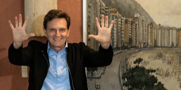 Rio de Janeiro's mayoral candidate for the Brazilian Republican Party (PRB) Marcelo Crivella gestures...
