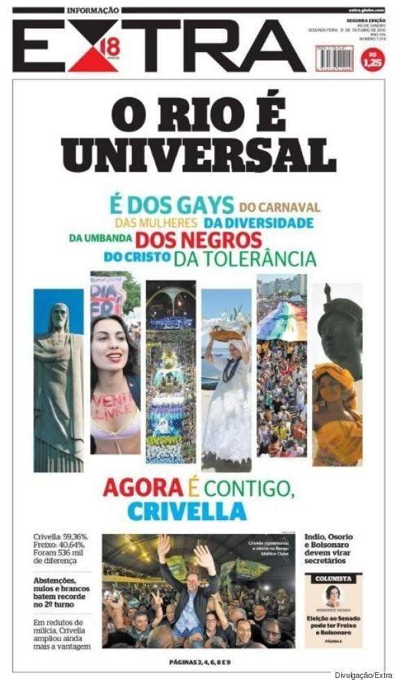 'Rio é universal': Jornal Extra desafia novo prefeito Marcelo Crivella a respeitar a