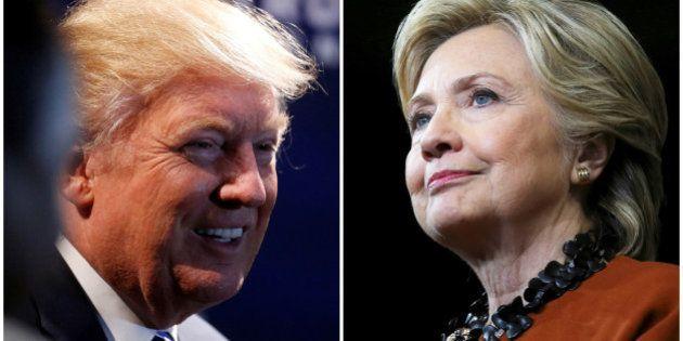 A combination photo shows U.S. Republican presidential nominee Donald Trump (L) at a campaign event in...