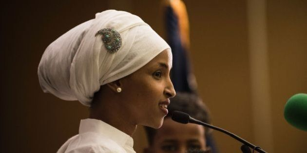 Ilhan Omar, a candidate for State Representative for District 60B in Minnesota, gives an acceptance speech...