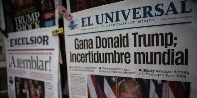MEXICO CITY, MEXICO - NOVEMBER 09: Donald Trump images are seen on the front pages of Mexican newspapers...