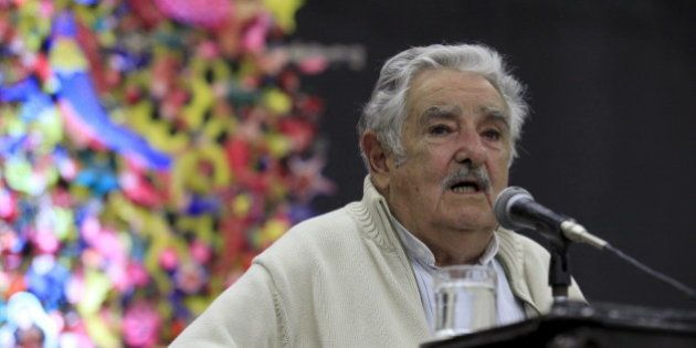 Former Uruguayan President Jose Mujica adresses the audience during a conference in Havana January 26,...