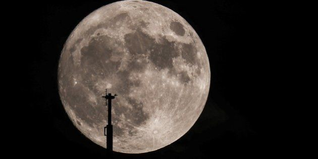 CHICAGO, UNITED STATES - NOVEMBER 13 : A full moon is seen in Chicago, Illinois, USA on November 13,...