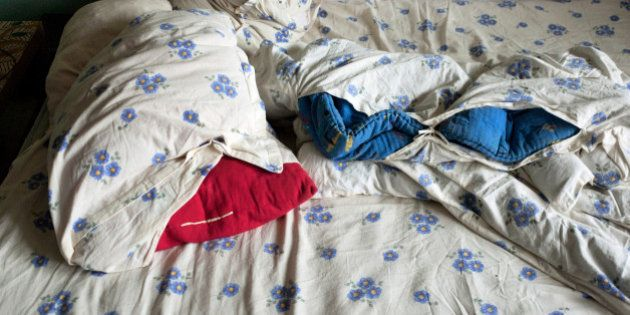 Sheets on a bed
