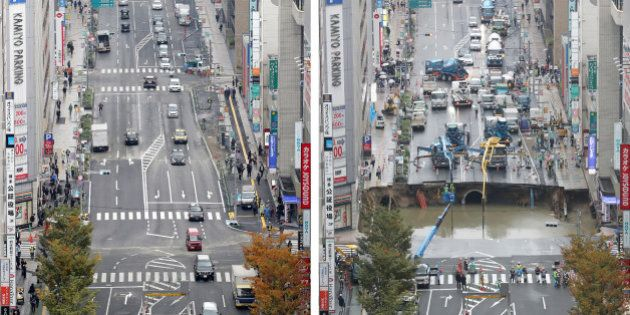 This combo shows a photo of a giant sinkhole (R), measuring around 30 metres (98 feet) wide and 15 metres...