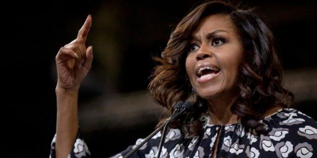 First lady Michelle Obama speaks during a campaign rally for Democratic presidential candidate Hillary...