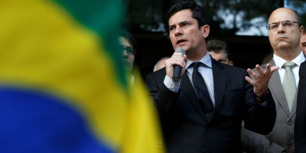 Brazilian federal judge Sergio Moro participates with other judges and attorneys in a demonstration against...