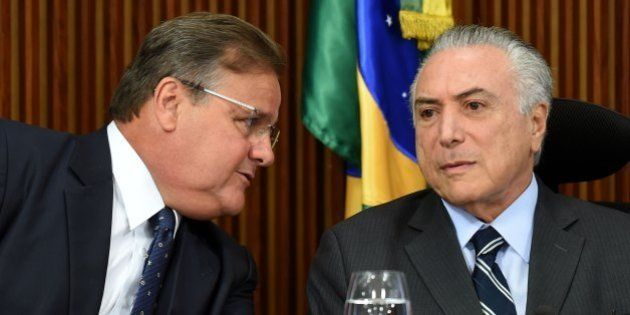 Brazilian acting President Michel Temer (R) and the General Secretary of the Brazilian Presidency Geddel...