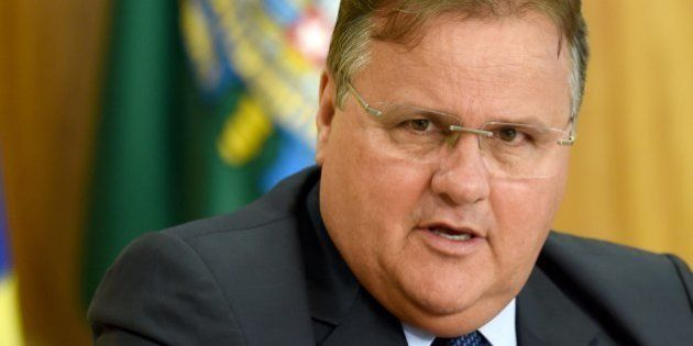 Minister of Government Secretariat Geddel Vieira Lima speaks at a press conference to explain the government's...