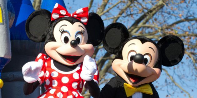 PHILADELPHIA, PA - NOVEMBER 24: Disney's Minnie Mouse and Mickey Mouse on Magic Kingdom Disney Float...