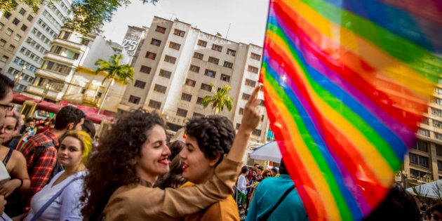 Activists participate in the Walk of Lesbian and Bisexual Women in Largo Payssandu, central SP. The act...