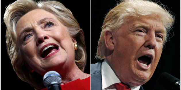 U.S. presidential candidates Hillary Clinton and Donald Trump (R) speak at campaign rallies in Westbury,...