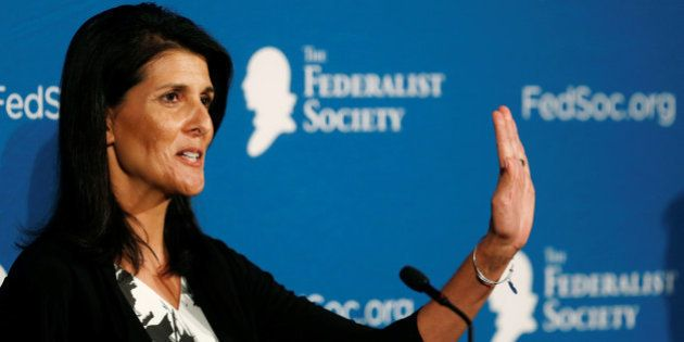 Republican South Carolina Governor Nikki Haley delivers remarks at the Federalist Society 2016 National...
