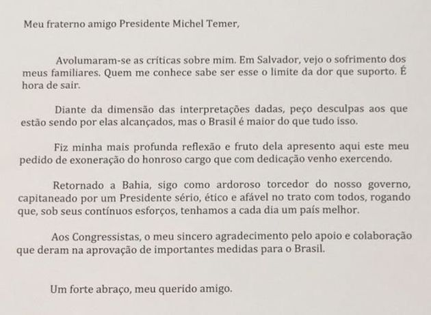 Geddel entrega carta de demissão e é o sexto ministro de Temer a