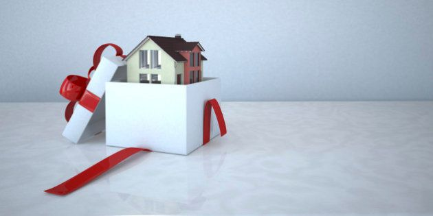 Residential house in a gift box, 3D