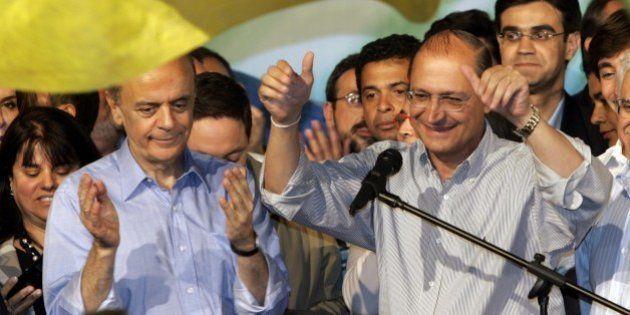 Brazil's Presidential candidate Social Democrat Geraldo Alckmin, right and Sao Paulo gubernatorial candidate...