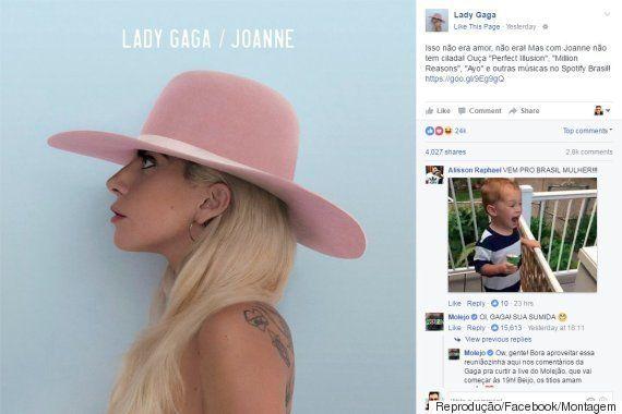 No Facebook, Lady Gaga brinca com semelhança entre 'Perfect Illusion' e música do
