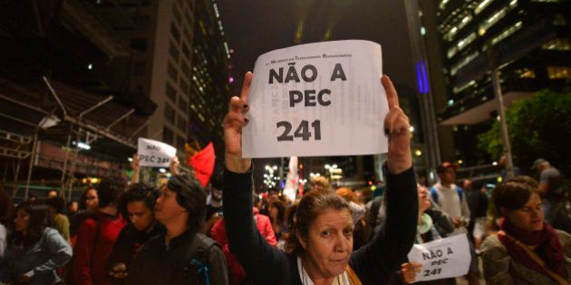 Opposers to President Michel Temer's economic recovery program, march against the constitutional amendment...