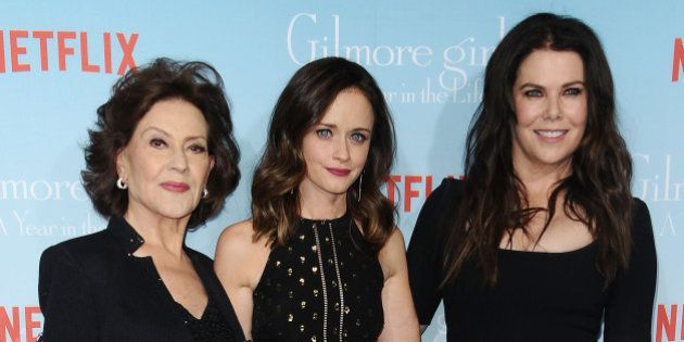 LOS ANGELES, CA - NOVEMBER 18:  (L-R) Actresses Kelly Bishop, Alexis Bledel and Lauren Graham attend the premiere of 'Gilmore Girls: A Year in the Life' at Regency Bruin Theatre on November 18, 2016 in Los Angeles, California.  (Photo by Jason LaVeris/FilmMagic)