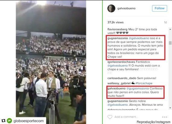Galvão Bueno sobre narrar jogo da Chapecoense: 'Não penso em outra