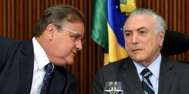 Brazilian acting President Michel Temer (R) and the General Secretary of the Brazilian Presidency Geddel...