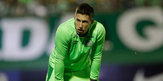 In this Nov. 23, 2016 photo, Brazil's Chapecoense goalkeeper Follmann, warms up prior to a Copa Sudamericana...