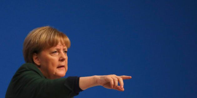 German Chancellor and leader of the conservative Christian Democratic Union party CDU Angela Merkel points...
