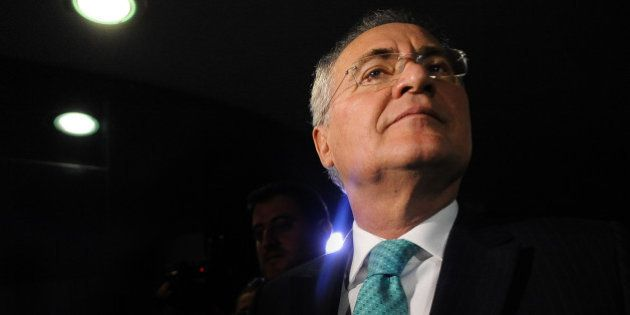 TOPSHOT - Brazilian Senate President Renan Calheiros participates in a plenary session of the senate...