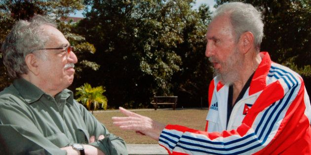Cuba's President Fidel Castro (R) talks to Colombian writer Gabriel Garcia Marquez in this file photo...