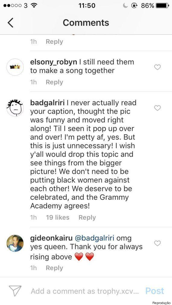 Rihanna sobre rivalidade com Beyoncé: 'Não coloquem mulheres negras umas contra as