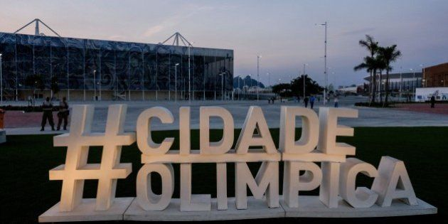 View of the words Olimpic City (in Portuguese) near the Live Site before its inauguration ceremony at...