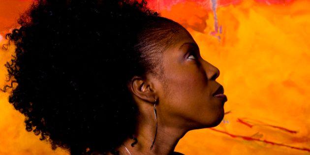 Profile portrait of a woman,
