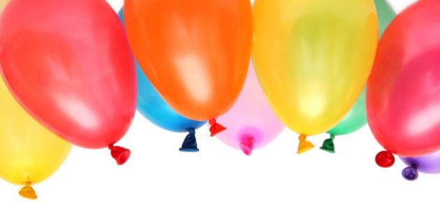 Plenty of colorful balloons on a white