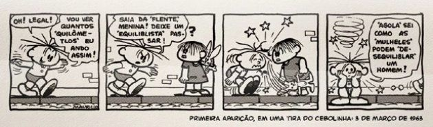Mônica faz primeira aparição em tira do Cebolinha na Folha, em