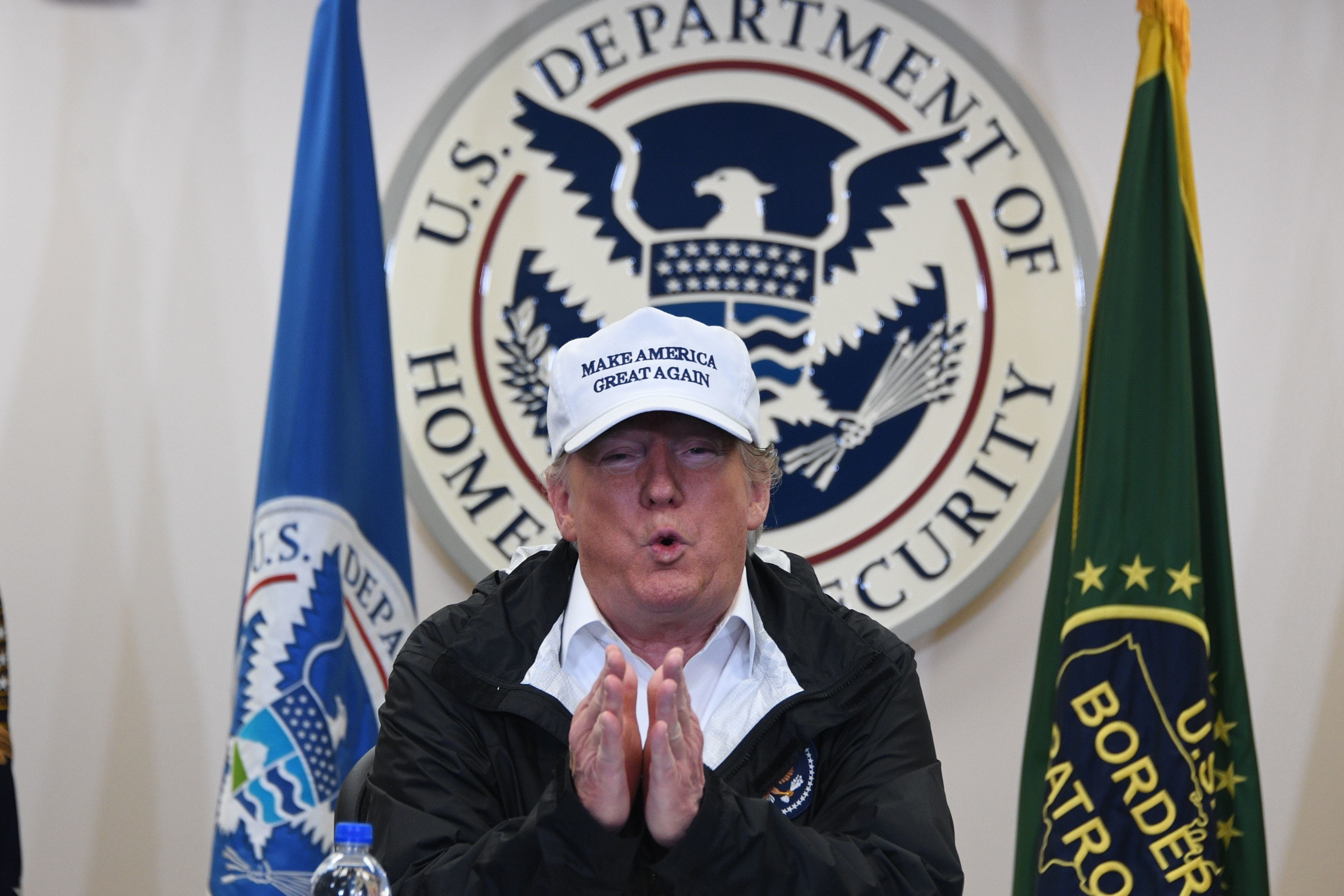 US President Donald Trump speaks during his visit to US Border Patrol McAllen Station in McAllen, Texas, on January 10, 2019. - Trump travels to the US-Mexico border as part of his all-out offensive to build a wall, a day after he stormed out of negotiations when Democratic opponents refused to agree to fund the project in exchange for an end to a painful government shutdown. (Photo by Jim WATSON / AFP)        (Photo credit should read JIM WATSON/AFP/Getty Images)