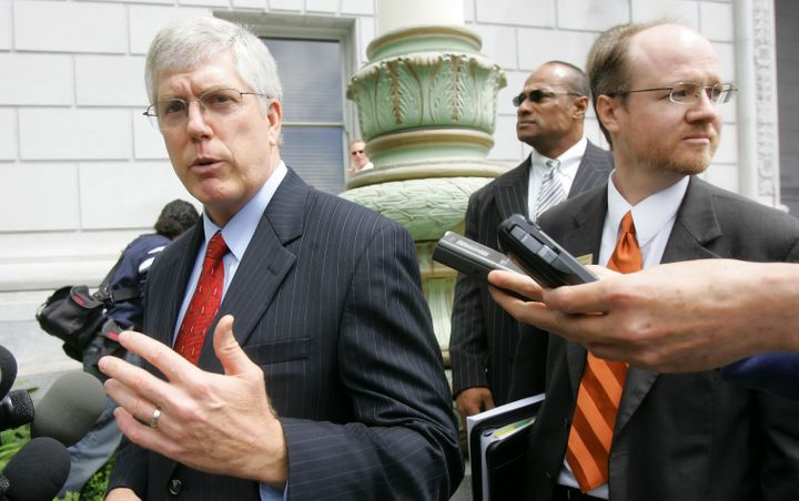 Staver (left) at a news conference discussing a trial on same-sex marriages in San Francisco in 2006. In a recent interview h