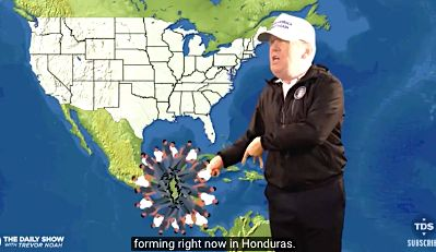 """Predicting a migrant hurricane on """"The Daily Show."""""""
