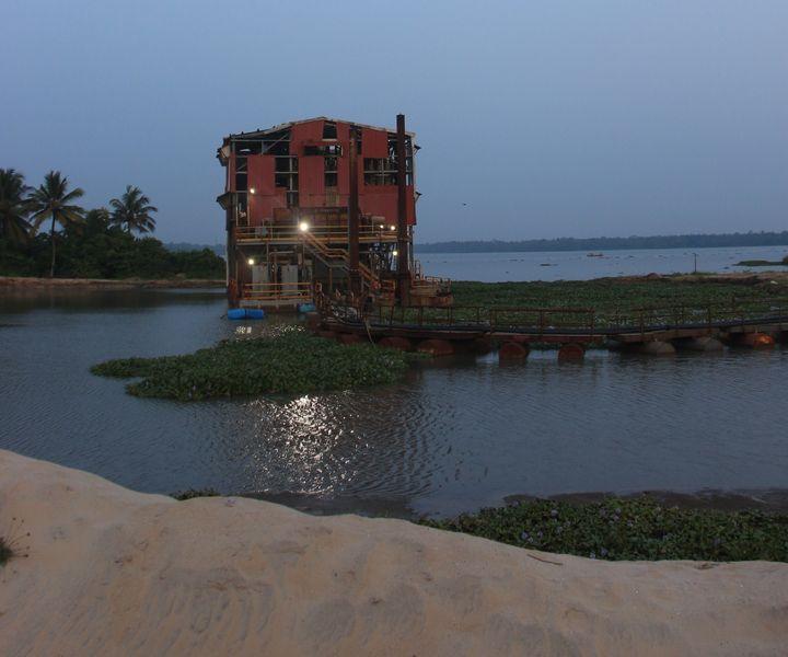 An area where sea has eaten the land in Alappad.