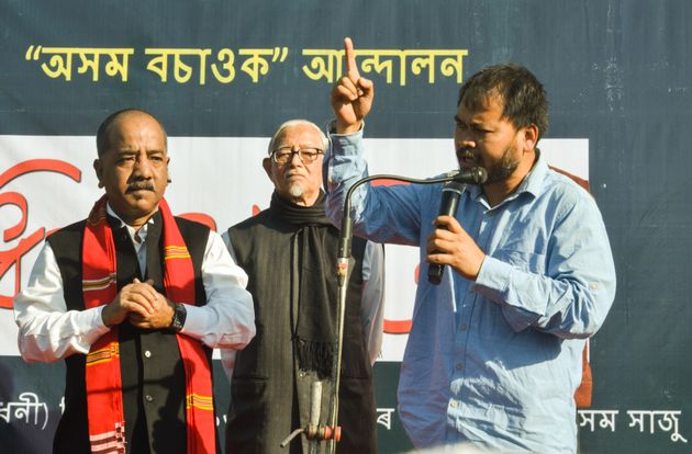 Academic Hiren Gohain, peasant leader Akhil Gogoi and journalist Manjit Mahanta during a protest in