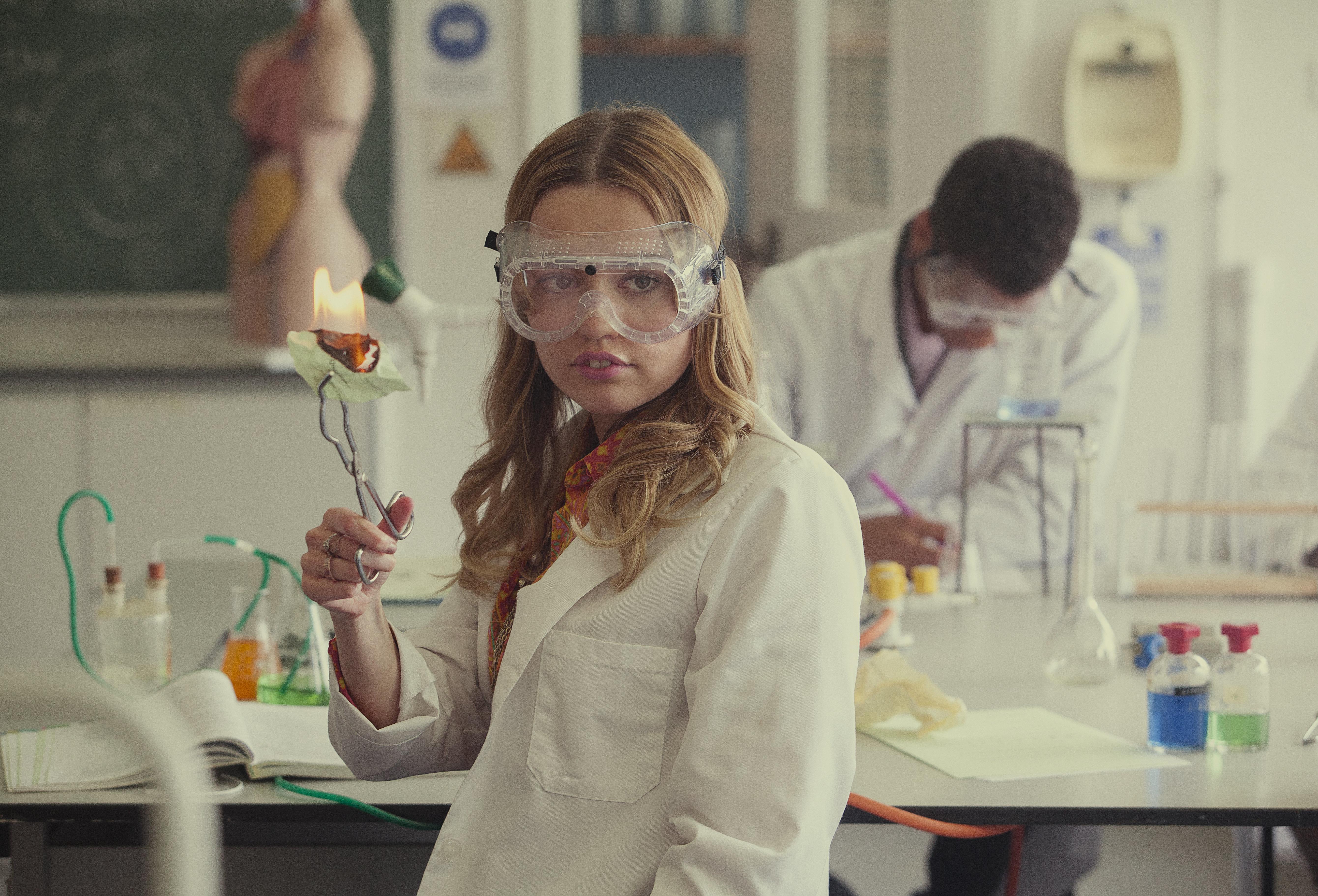 "Aimee Lou Wood as Aimee Gibbs in ""Sex Education."""