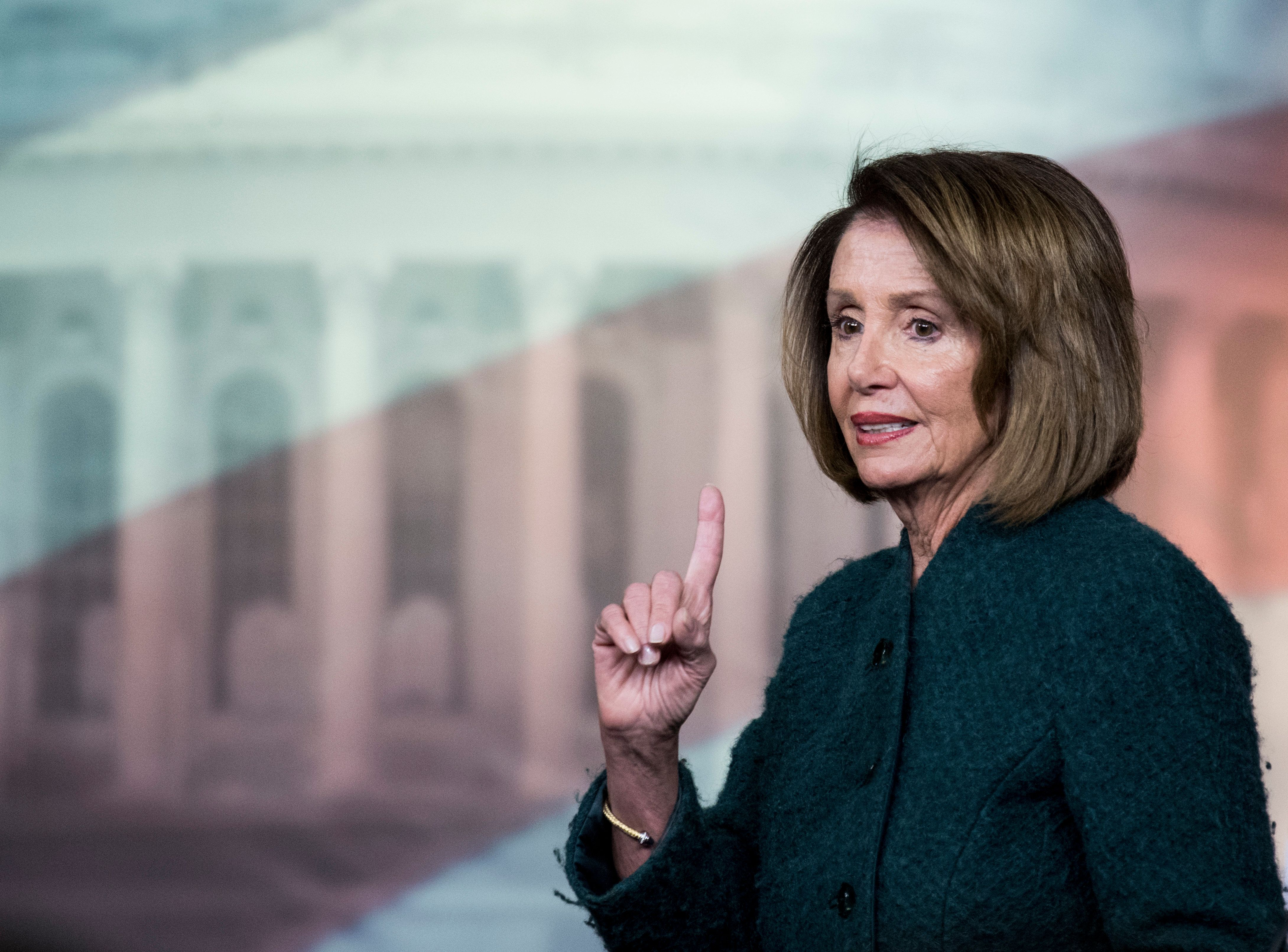 UNITED STATES - JANUARY 10: Speaker of the House Nancy Pelosi, D-Calif., holds her weekly on camera press conference in the Capitol on Thursday, Jan. 10, 2019.(Photo By Bill Clark/CQ Roll Call)