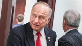 UNITED STATES - NOVEMBER 28: Rep. Steve King, R-Iowa, leaves a meeting of the House Republican Conference in the Capitol on November 28, 2018. (Photo By Tom Williams/CQ Roll Call)