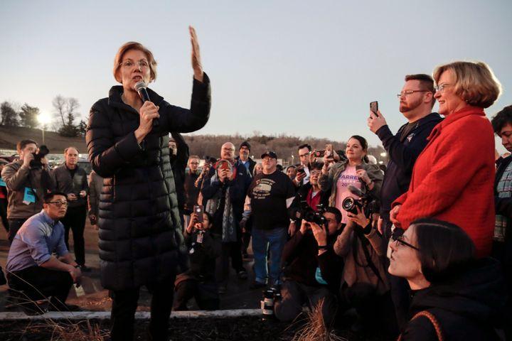 Massachusetts Sen. Elizabeth Warren made her first stop of the 2018 campaign in Council Bluffs, Iowa.