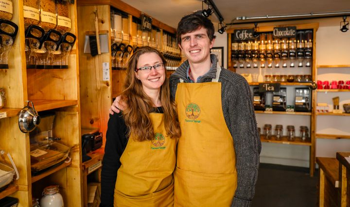 Chloe and Rob Masefield in their plastic-free grocery store, Natural Weigh, in the U.K.