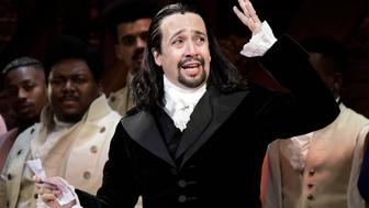 Lin-Manuel Miranda, composer and creator of the award-winning Broadway musical, Hamilton, offers a message of gratitude after receiving a standing ovation at the end of the play's premiere held at the Santurce Fine Arts Center, in San Juan, Puerto Rico, Friday, Jan. 11, 2019. The musical is set to run for two weeks and will raise money for local arts programs. (AP Photo/Carlos Giusti)