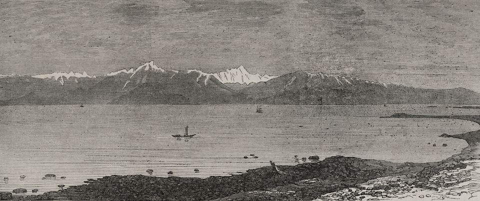 Strait of Juan de Fuca, Mount Olympus in the background, Canada and United States of America, illustration from the magazine The Illustrated London News, volume LX, June 29, 1872.