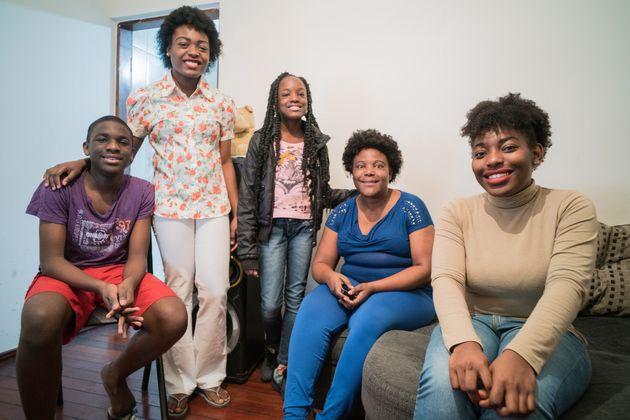 Lucia com sua família, em São