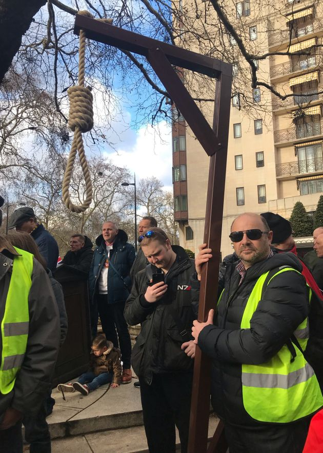 One protestor who took part in a march led by English Defence League(EDL) founder Stephen Yaxley-Lennon, also known as Tommy Robinson, even brought his own gallows to a Parliament Square rally in December.