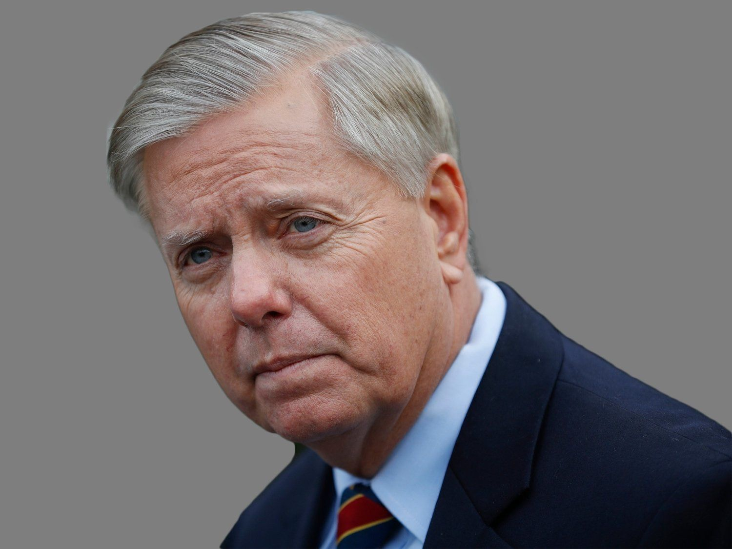 Lindsey Graham headshot, as US Senator of South Carolina, graphic element on gray